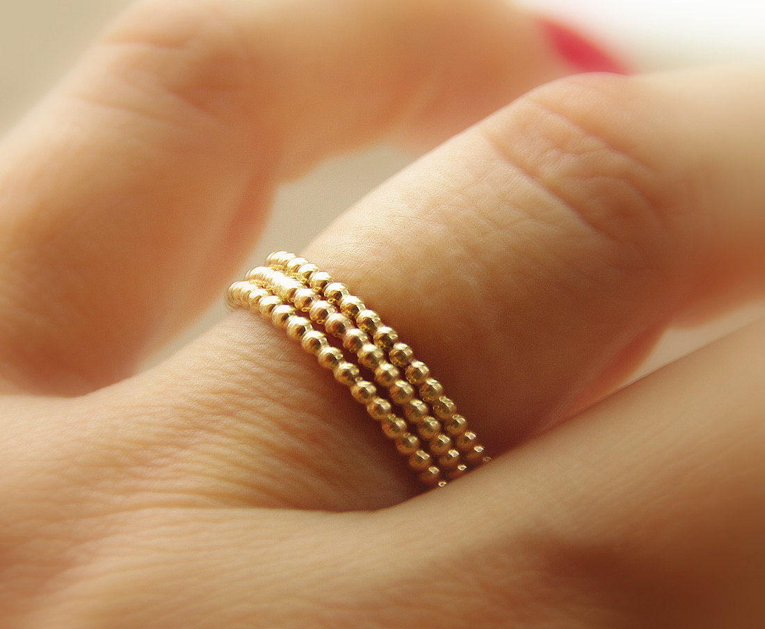 908080bd4ad3b 3 Beaded / Dotted 14k Gold Filled Handmade Stackable Rings (eternity ...
